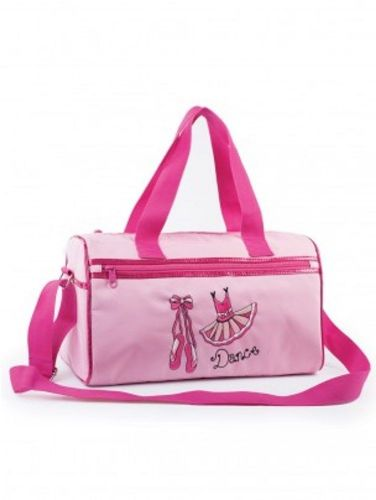 Girls Medium Dance Holdall Bag with Ballet Shoes and Tutu Design Glittery Trim